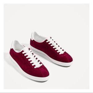 NWT Zara Burgundy Suade Sneakers